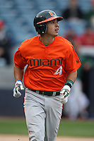 March 2, 2010:  Shortstop Stephen Perez of the Miami Hurricanes during a game at Legends Field in Tampa, FL.  Photo By Mike Janes/Four Seam Images