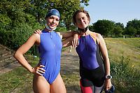 Raika und Maren Gieltwoski aus Rüsselsheim warten auf den Start und freuen sich auf die Teilnahme - Mörfelden-Walldorf 18.07.2021: MoeWathlon