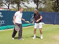 17-6-09, Rosmalen, Tennis, Ordina Open 2009, Raemon Sluiter en Tjerk Bogtstra op de training