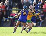 Roisin Mc Mahon of Newmarket in action against Andrea O Keeffe of Inagh-Kilnamona during their senior county final in Clarecastle. Photograph by John Kelly.