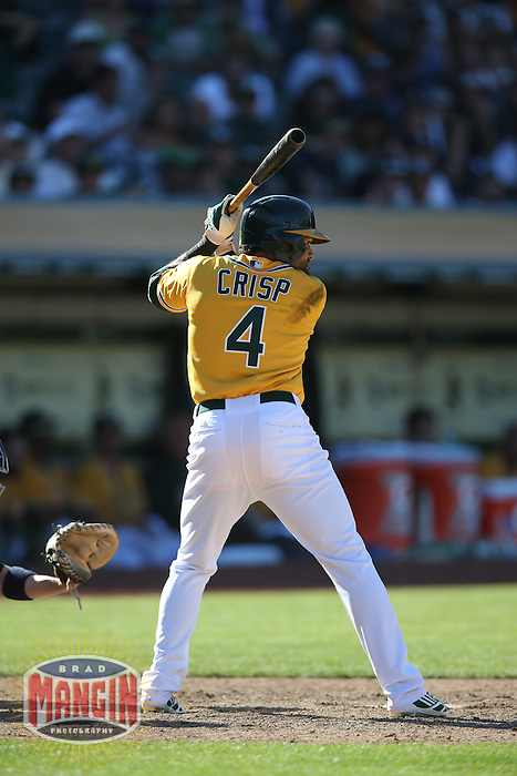 OAKLAND, CA - JUNE 13:  Coco Crisp #4 of the Oakland Athletics bats against the New York Yankees during the game at O.co Coliseum on Thursday June 13, 2013 in Oakland, California. Photo by Brad Mangin