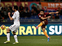 Calcio, Serie A: Roma, stadio Olimpico, 19 febbraio 2017.<br /> Roma's Mohamed Salah scores during the Italian Serie A football match between As Roma and Torino at Rome's Olympic stadium, on February 19, 2017.<br /> UPDATE IMAGES PRESS/Isabella Bonotto