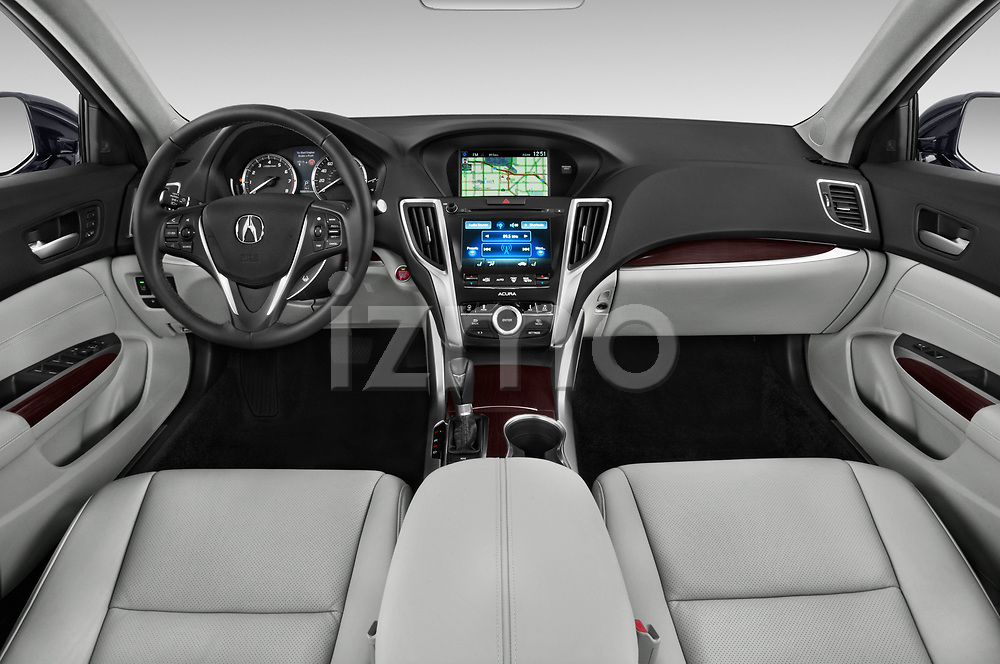 Stock photo of straight dashboard view of 2015-2017 Acura TLX Technology 4 Door Sedan