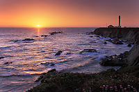 California, Point Arena, Point Arena Lighthouse at sunset