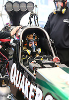 Feb 3, 2016; Chandler, AZ, USA; NHRA top fuel driver Leah Pritchett during pre season testing at Wild Horse Pass Motorsports Park. Mandatory Credit: Mark J. Rebilas-USA TODAY Sports