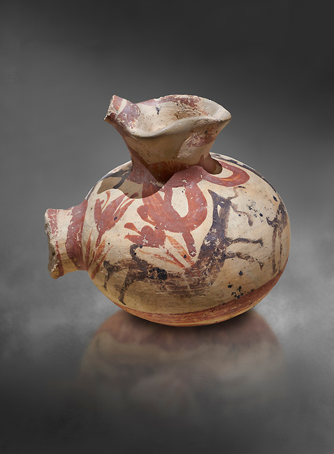 Minoan cay vase with painted goat in a crocus landscape from Akrotiri, Thira (Santorini), National Archaeological Museum Athens. 17th-16th cent BC.<br /> <br />  From the French Archaeological School in Athens collection.