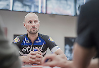 race winner Tom Boonen (BEL/Etixx-Quickstep) at the post-race interview session<br /> <br /> Brussels Cycling Classic 2016