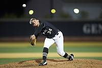 Wake Forest Demon Deacons relief pitcher Bobby Hearn (34) delivers a pitch to the plate against the Illinois Fighting Illini at David F. Couch Ballpark on February 16, 2019 in  Winston-Salem, North Carolina.  The Fighting Illini defeated the Demon Deacons 5-2. (Brian Westerholt/Four Seam Images)