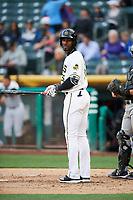 Jabari Blash (36) of the Salt Lake Bees bats against the Albuquerque Isotopes at Smith's Ballpark on April 5, 2018 in Salt Lake City, Utah. Salt Lake defeated Albuquerque 9-3. (Stephen Smith/Four Seam Images)