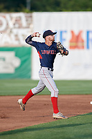 Lowell Spinners shortstop Korby Batesole (12) throws to first base during a game against the Auburn Doubledays on July 13, 2018 at Falcon Park in Auburn, New York.  Lowell defeated Auburn 8-5.  (Mike Janes/Four Seam Images)