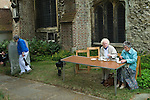 Barnes southwest London Uk. St Mary's churchyard open day to visit the tower and tea and biscuits afterwards. 2011.