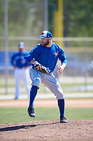 Toronto Blue Jays pitcher Shane Dawson (26) during a Minor League Spring Training Intrasquad game on March 14, 2018 at Englebert Complex in Dunedin, Florida.  (Mike Janes/Four Seam Images)