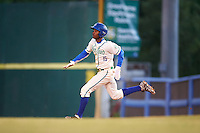 Hartford Yard Goats center fielder Raimel Tapia (15) running the bases during the second game of a doubleheader against the Trenton Thunder on June 1, 2016 at Sen. Thomas J. Dodd Memorial Stadium in Norwich, Connecticut.  Trenton defeated Hartford 2-1.  (Mike Janes/Four Seam Images)