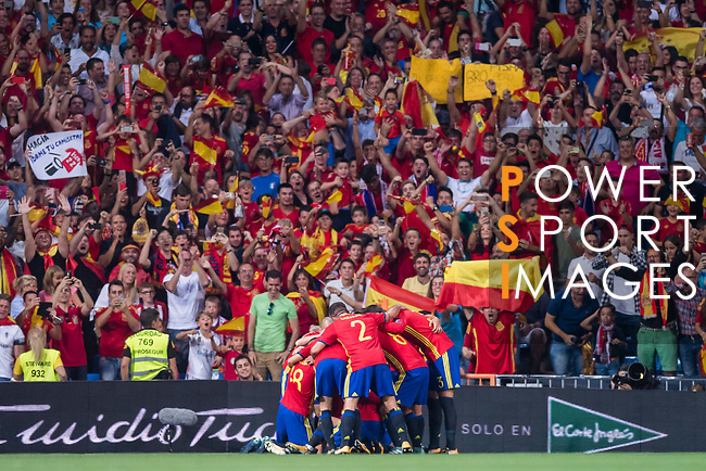 Players of Spain celebrates the goal during their 2018 FIFA World Cup Russia Final Qualification Round 1 Group G match between Spain and Italy on 02 September 2017, at Santiago Bernabeu Stadium, in Madrid, Spain. Photo by Diego Gonzalez / Power Sport Images