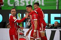 17.02.2018, Football 1. Bundesliga 2017/2018, 23.  match day, VfL Wolfsburg - FC Bayern Muenchen, in Volkswagen Arena Wolfsburg. celebration  Franck Ribery (Bayern Muenchen) , scorer Sandro Wagner (Bayern Muenchen) and Corentin Tolisso (Bayern Muenchen)   1:1 *** Local Caption *** © pixathlon<br /> <br /> Contact: +49-40-22 63 02 60 , info@pixathlon.de