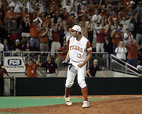 Texas P Brandon Belt celebrates the final out and win against Texas A&M on May 16th, 2008 in Austin Texas. Photo by Andrew Woolley / Four Seam Images.