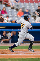 Designated hitter Edwar Gonzalez (25) of the Trenton Thunder follows through on his swing versus the Connecticut Defenders at Dodd Stadium in Norwich, CT, Tuesday, June 3, 2008.