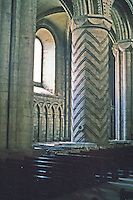 Durham: Durham Cathedral--Norman pier, nave. Photo '90.