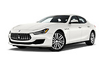 Stock pictures of low aggressive front three quarter view of a 2020 Maserati Ghibil Base 4 Door Sedan