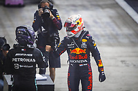 26th September 2021; Sochi, Russia; F1 Grand Prix of Russia, Race Day:  HAMILTON Lewis gbr, Mercedes AMG F1 GP W12 E Performance congratulated by 2nd placed VERSTAPPEN Max ned, Red Bull Racing Honda RB16B
