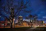 Dusk cityscape of Downtown Dayton OH. St. Clair & 2nd St.'s