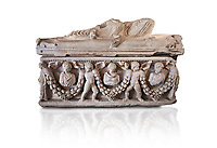 Roman relief garland  sculpted sarcophagus, style typical of Pamphylia, 3rd Century AD, Konya Archaeological Museum, Turkey. Against a white background