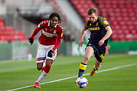13th March 2021; Riverside Stadium, Middlesbrough, Cleveland, England; English Football League Championship Football, Middlesbrough versus Stoke City; Djed Spence of Middlesbrough  and Rhys Norrington-Davies of Stoke City compete for the ball