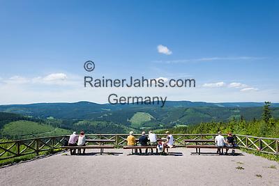 Germany, Thuringia, Ilmenau: view from Kickelhahn mountain (861 m) in Thuringian Forest   Deutschland, Thueringen, Ilmenau: Aussicht vom Kickelhahn, 861 Meter hoher Berg im Thueringer Wald, der Goethe-Wanderweg fuehrt hier entlang