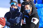 FIS Alpine World Ski Championships 2021 Cortina . Cortina d'Ampezzo, Italy on February 19, 2021. Left, Kilian Albrecht , Mikaela Shiffrin (USA) coach and  French Olympic Biathlon Champion Martin Fourcade wearing a mask.