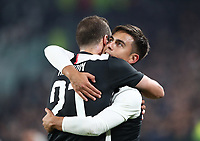 Calcio, Serie A: Juventus - Milan, Turin, Allianz Stadium, November 10, 2019.<br /> Juventus' Paulo Dybala (r) celebrates after scoring with his teammate Gonzalo Higuain (l) during the Italian Serie A football match between Juventus and Milan at the Allianz stadium in Turin, November 10, 2019.<br /> UPDATE IMAGES PRESS/Isabella Bonotto