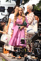 NEW YORK, NY - July 20: Sarah Jessica Parker, Kristin Davis and Cynthia Nixon on the set of the HBOMax Sex and the City reboot series And Just Like That on July 20, 2021 in New York City. <br /> CAP/MPI/RW<br /> ©RW/MPI/Capital Pictures