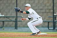 First baseman Justin Seager #10 of the Charlotte 49ers waits for a throw against the Tennessee Tech Golden Eagles at Robert and Mariam Hayes Stadium on March 8, 2011 in Charlotte, North Carolina.  Photo by Brian Westerholt / Four Seam Images