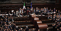 Un momento dello scrutinio successivo alla sesta votazione, durante la seduta comune per l'elezione del Capo dello Stato, alla Camera dei Deputati, Roma, 20 aprile 2013. Il presidente Napolitano ha ottenuto un secondo mandato..A moment of the ballot following the sixth votation during the common plenary session to elect the Head of State, at the Lower Chamber in Rome, 20 April 2013. Outgoing president Giorgio Napolitano obtained a second 7-years term..UPDATE IMAGES PRESS/Isabella Bonotto