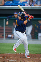 State College Spikes catcher Jose Godoy (35) at bat during a game against the Auburn Doubledays on July 6, 2015 at Falcon Park in Auburn, New York.  State College defeated Auburn 9-7.  (Mike Janes/Four Seam Images)