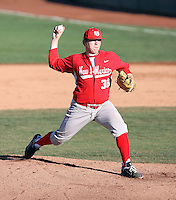 Jake McCasland #38 of the University of New Mexico Lobos pitches against the Arizona State Sun Devils  in game three of the 2011 season opening series on February 20, 2011 at Packard Stadium, Arizona State University, in Tempe, Arizona..Photo by:  Bill Mitchell/Four Seam Images.