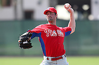 Philadelphia Phillies pitcher Cole Hamels #35 during practice at the Carpenter Complex on February 27, 2012 in Clearwater, Florida.  (Mike Janes/Four Seam Images)