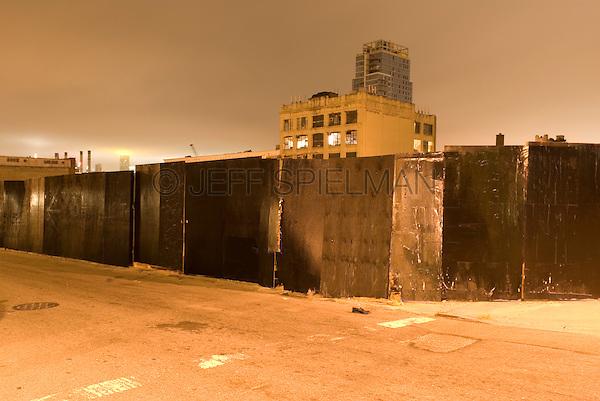 Mysterious Urban Street Scene at Night, the Williamsburg neighborhood of Brooklyn, New York City, New York State, USA