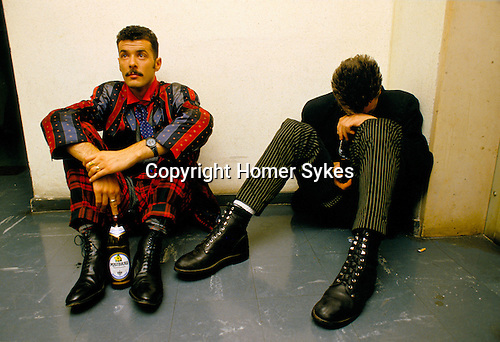 Paul Rutherford, Mark O'Toole,'Frankie Goes to Hollywood', British band.Back stage during a TV promotional tour in Germany. 1983