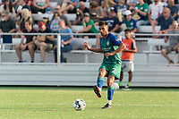 HARTFORD, CT - JULY 10: Alex Lara #2 of Hartford Athletic passes the ball during a game between New York Red Bulls II and Hartford Athletics at Dillon Stadium on July 10, 2021 in Hartford, Connecticut.