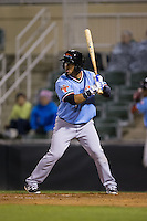 Eduard Pinto (1) of the Hickory Crawdads at bat against the Kannapolis Intimidators at Kannapolis Intimidators Stadium on April 9, 2016 in Kannapolis, North Carolina.  The Crawdads defeated the Intimidators 6-1 in 10 innings.  (Brian Westerholt/Four Seam Images)