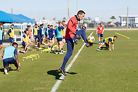 BRADENTON, FL - JANUARY 22: Aron Hyde traps a ball during a training session at IMG Academy on January 22, 2021 in Bradenton, Florida.