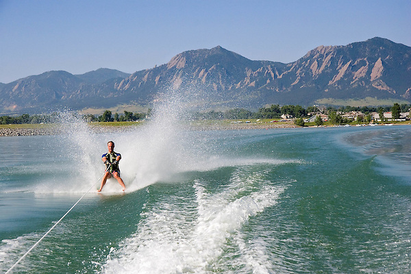 Man barefoot waterskiing, Boulder Reservoir, Boulder, Colorado, .  John leads private photo tours in Boulder and throughout Colorado. Year-round. .  John offers private photo tours in Denver, Boulder and throughout Colorado. Year-round.