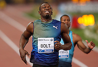 Golden Gala di atletica leggera allo stadio Olimpico di Roma, 6 giugno 2013.<br /> Jamaica's Usain Bolt reacts after competing in the men's 100 meters race at the Golden Gala IAAF athletics meeting at Rome's Olympic stadium, 6 June 2013.<br /> UPDATE IMAGES PRESS/Riccardo De Luca