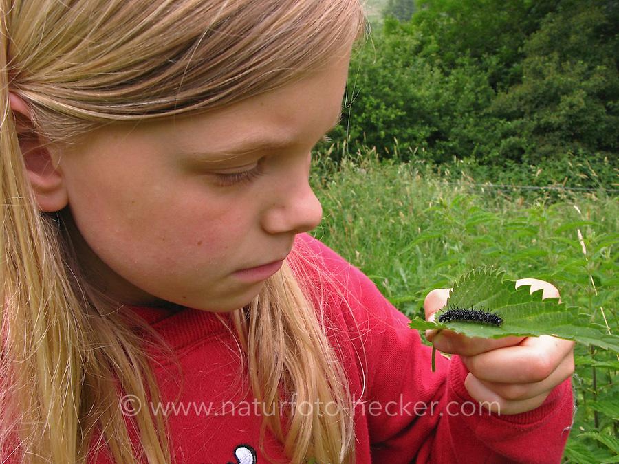 Tagpfauenauge, Mädchen beobachtet Raupe auf Brennnessel-Blatt, Aglais io, Inachis io, Nymphalis io, peacock moth