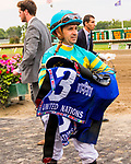 OCEANPORT, NJ - JULY 01: Bigger Picture #3, with Joe Bravo aboard, holds off Can'thelpbelieving #7, to win the United Nations Stakes  at Monmouth Park on July 01, 2017 in Oceanport, New Jersey (Photo by Sue Kawczynski/Eclipse Sportswire/Getty Images)