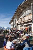"""Europe/France/Rhone-Alpes/74/Haute-Savoie/Megève: Terrasse du Restaurant d'Altitude """"l'Idéal"""" au sommet du Mont d'Arbois"""