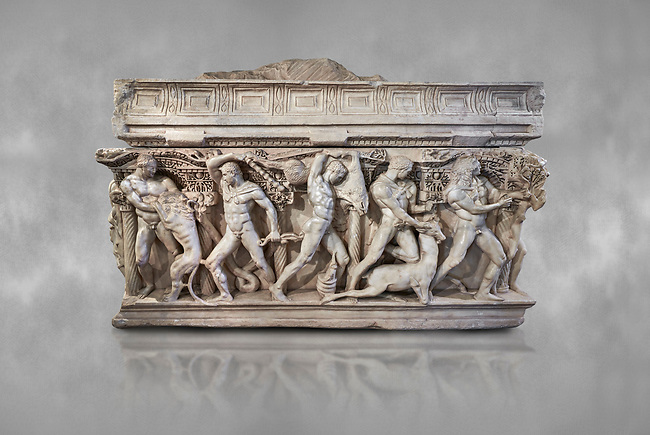 """Side panel of a Roman relief sculpted Hercules sarcophagus with kline couch lid, """"Columned Sarcophagi of Asia Minor"""" style typical of Sidamara, 250-260 AD, Konya Archaeological Museum, Turkey."""