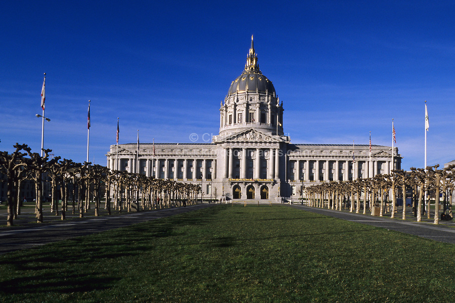 San Francisco, California - City Hall.  Built 1913-15, an example of French Renaissance Revival Architecture.  Designed by architects Arthur Brown and John Bidwell.  The gold dome is taller than the U.S. Capitol, and is modeled after St. Peter's Basilica in the Vatican.