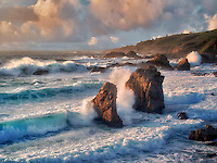 Waves, and shoreline at sunset. Garrapata State Park, California