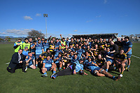 The teams pose for a group photo after the Horowhenua-Kapiti premier reserve club rugby union final between Levin College Old Boys and Foxton at Levin Domain in Levin, New Zealand on Saturday, 8 August 2020. Photo: Dave Lintott / lintottphoto.co.nz